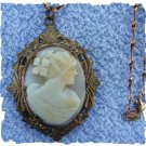 Victorian Era CAMEO LOCKET & Chain ~ Lovely