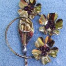 Sterling Vermeil FLOWER BROOCH with Garnet Rhinestones