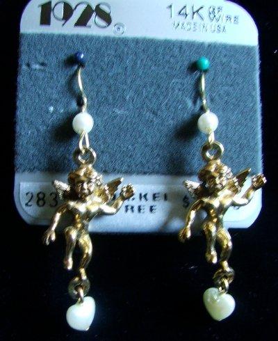 1928 Jewelry Co Pierced Earrings Victorian Styled CHERUBS 14K Gold