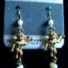1928 Jewelry Co Pierced Earrings Victorian Styled CHERUBS 14K Gold