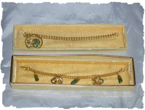 Bracelets - Two Green Agate / Jade w/Goldtone