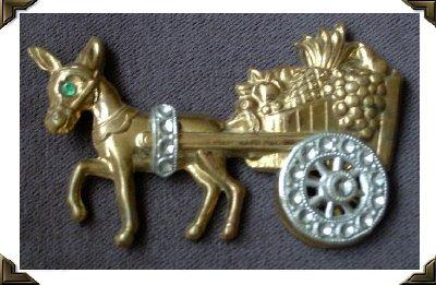 Vintage Pin / Brooch ~ DONKEY PULLING CART