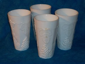 Indiana Milk Glass Harvest Grape Tumblers - Set of 4