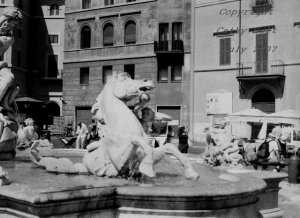 Bernini Sculpture in the Piazza Navona, Rome, Italy