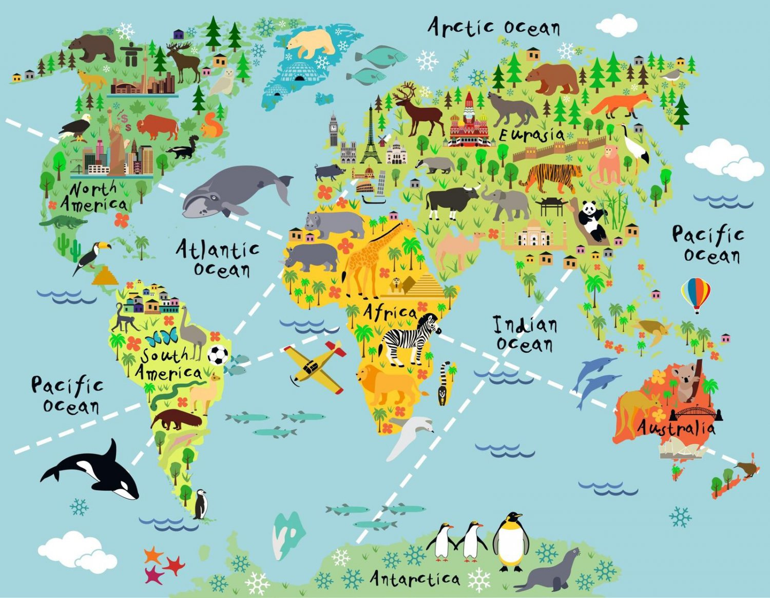 "Kids Animal Map Of The World 30"" Poster"