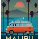 "malibu California Sunset Vintage 31"" Poster"