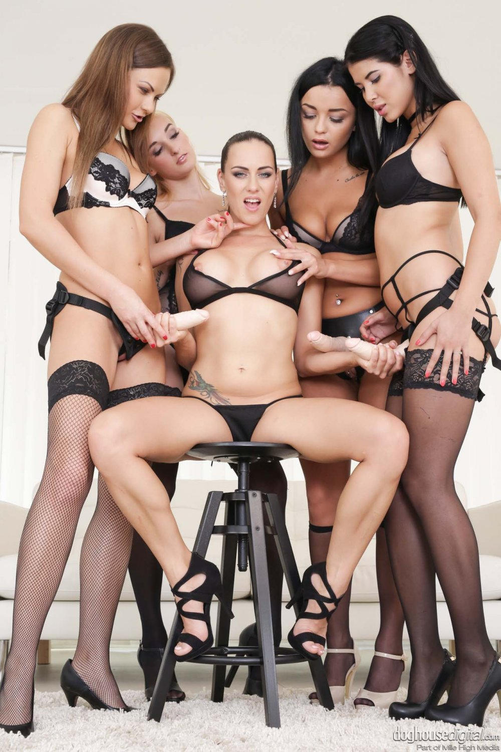 """Five Girl Strap On Orgy 35"""" Poster"""