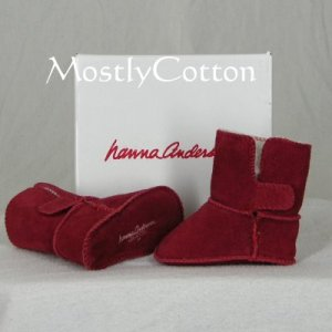 Hanna Andersson BABY Shearling Booties SLIPPERS size Small 0-6m NIB New In Box INDIA RED