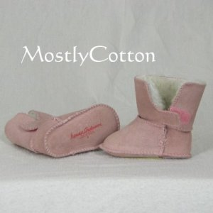 Hanna Andersson BABY Shearling Booties SLIPPERS size Small 0-6m NEW without Box PALE PEONY Pink