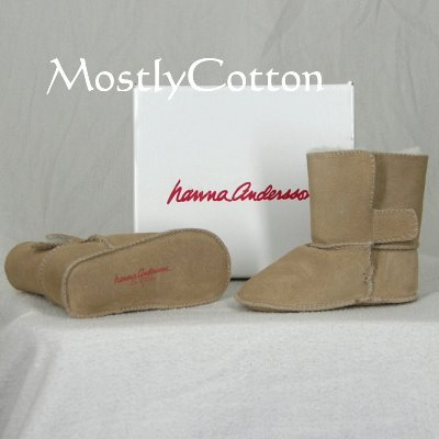 Hanna Andersson BABY Shearling Booties SLIPPERS size Large 17-24m NiB New In Box NATURAL KHAKI