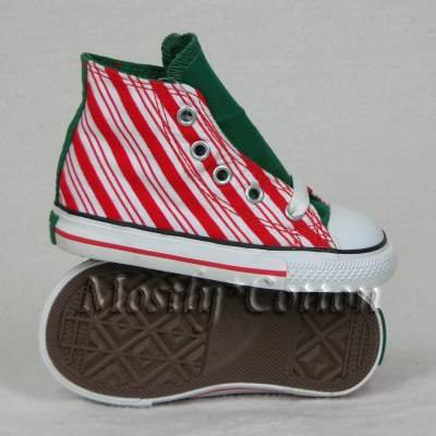 Converse CHUCK TAYLOR Infants 9-12m CANDY CANE High-Top Sneakers Shoes size 5 NEW