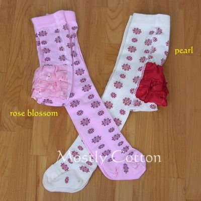Hanna Andersson Girls ROSE BLOSSOM Pink FESTIVE SNOWFLAKE Ruffle TIGHTS size 60 3-6m NwT New