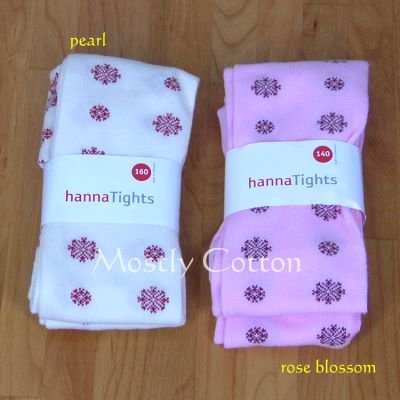 Hanna Andersson Girls ROSE BLOSSOM Pink FESTIVE SNOWFLAKE TIGHTS size 140 9 10 11 NwT New