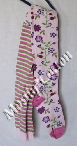 Hanna Andersson Girls PALE PEONY Pink LINGERING GARDEN TIGHTS size 130-140 NwT New