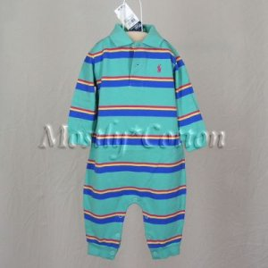 NwT POLO RALPH LAUREN boys TEAL GREEN STRIPED Long Sleeve KNIT ROMPER COVERALL 18m New With Tags