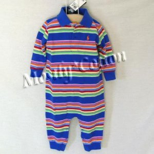 NwT POLO RALPH LAUREN boys MULTI STRIPED Long Sleeve KNIT ROMPER COVERALL 18m New With Tags