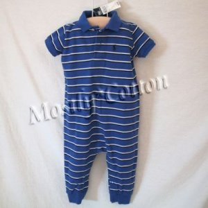 NwT POLO RALPH LAUREN boys MULTI STRIPED Short Sleeve KNIT ROMPER COVERALL 18m New With Tags