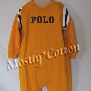 NwT POLO RALPH LAUREN boys YELLOW VARSITY Long Sleeve LONGALL ROMPER 18m New