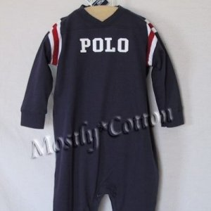 NwT POLO RALPH LAUREN boys NAVY VARSITY Long Sleeve LONGALL ROMPER 18m New