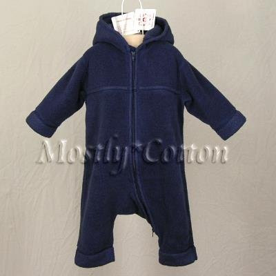 NwT HANNA ANDERSSON Navy Blue HOODED FLEECE Snowsuit BUNTING Infant Baby NB  50 0-3m New