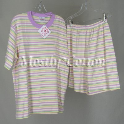 HANNA ANDERSSON Girls Organic PALE ORCHID stripes SHORT JOHNS PJs Original-Style Sz 160 Nwt New