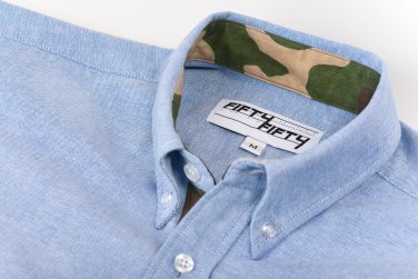 Blue Camo Lined Oxford Shirt - Small