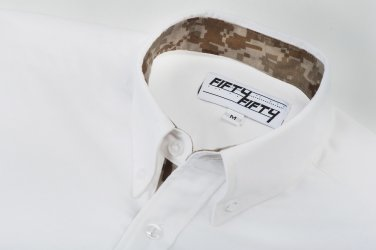 White Camo Lined Oxford Shirt - Medium