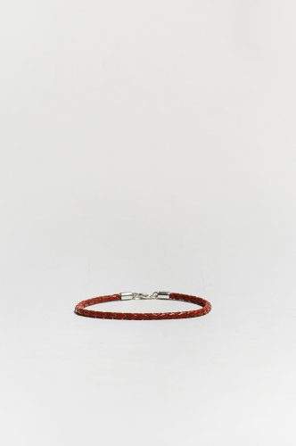 Large Red Braided Leather Bracelet Sterling Silver Clasp