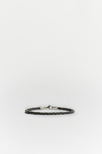 Small Grey Braided Leather Bracelet Sterling Silver Clasp Gray