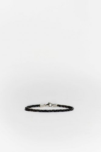 Medium Black Braided Leather Bracelet Sterling Silver Clasp