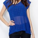Hot Fix Rhinestone Chiffon High Low Top in Blue Size Small or Large