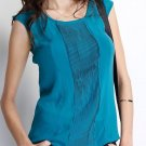 Chiffon Pleated Tank in Blue Green Size Small Medium or Large
