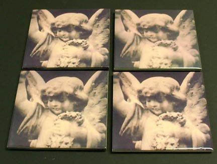 Angel Coaster Set of 4- Polaroid transfer image