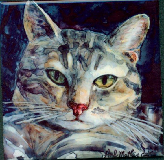 Grey Tabby Cat Art Tile/Coaster Set