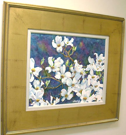 White Dogwood on Blue- original watercolor