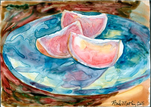 Grapefruit on Blue Plate- watercolor on yupo