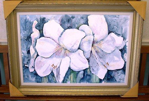 White Amaryllis- framed- Huge 24 x 36 inches