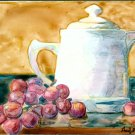 Teapot with Grapes-watercolor on Yupo