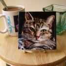 Grey Tabby Art Tile with Easel