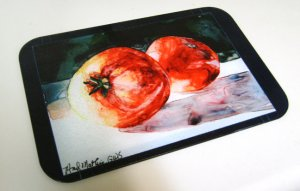 2 Red Tomatoes Glass Cutting Board