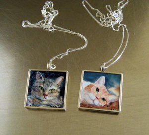Cat Pendant- Sterling Silver- Double Sided - Medium