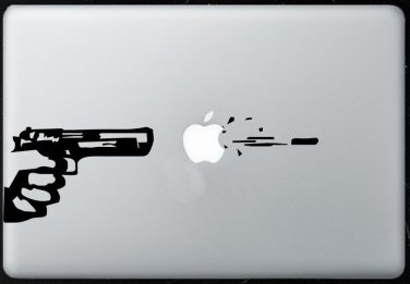 Pistol Shoot MacBook Air-Pro 11 13 15 17 Vinyl Stickers, Skin, Decal