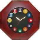 Octagonal Wood Billiards Quartz Clock