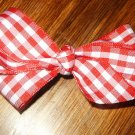 Red and white gingham hairbow