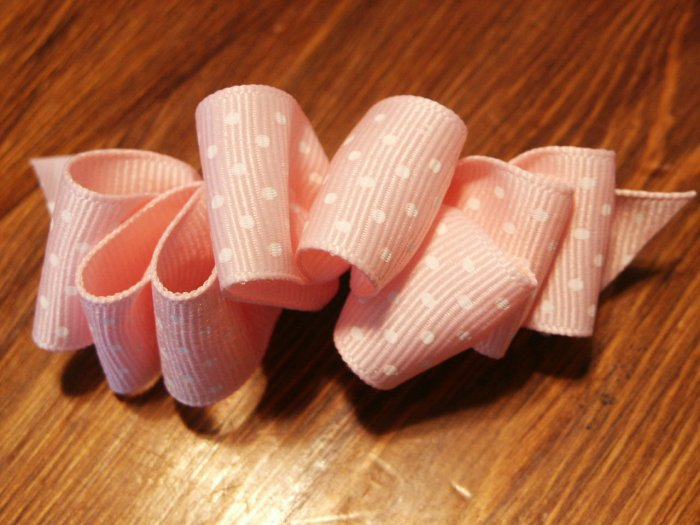 Pink and White Polka Hairbow