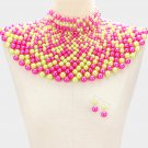Pink and Green Beaded Armor Choker Bib Chain Necklace Set