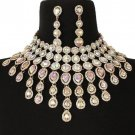 Elegant Gold and Abalone Fringe Crystal Choker Bib Chain Necklace Set