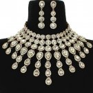 Elegant Gold Fringe Crystal Choker Bib Chain Necklace Set