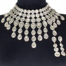 Elegant Silver Fringe Crystal Choker Bib Chain Necklace Set