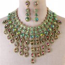 Elegant Multicolored Green Fringe Crystal Choker Bib Chain Necklace Set